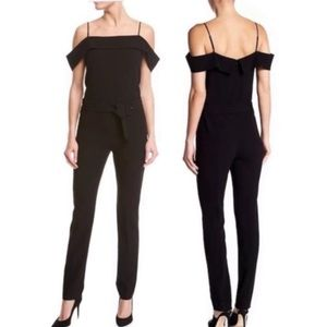 Theory Admiral Crepe Cold Shoulder Belted Jumpsuit